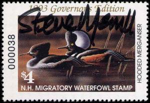 1993 NEW HAMPSHIRE #11GH GOVERNOR'S STAMP HAND SIGNED BY GOV STEVE MERRILL