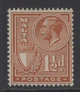 MALTA SG160 1926 1½d CHESTNUT MTD MINT