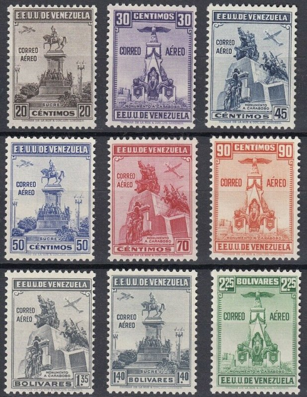 Venezuela 1938 Independence Set. LM Mint. Scott C127-35. SG 583-91