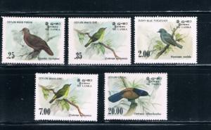 Sri Lanka 691-94;877 Set MNH Birds (S0142)