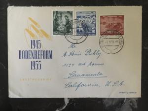 1956 Dresden East Germany DDR First Day Cover to USA Land Reform 10 anniversary