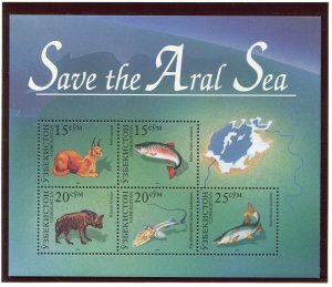 Uzbekistan Save the Aral Sea Fish Sheet Scott 113, 1996, NH