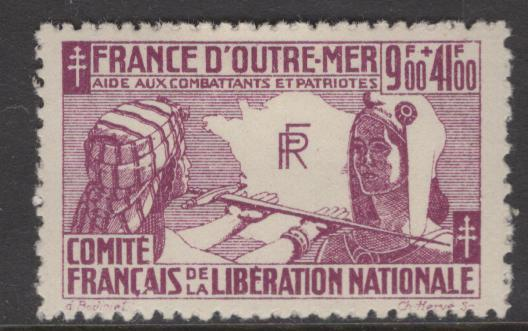 FRENCH COLONIES  B2  MINT HINGED, AID TO FRANCE ISSUE 1943