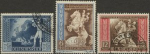 Stamp Germany Mi 820-2 Sc B209-11 1942 WWII Reich Vienna Horse Axis Powers Used