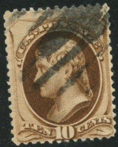US Sc#187 1879 10c Brown ABN No Secret Mark Fine Centered & Sound Used