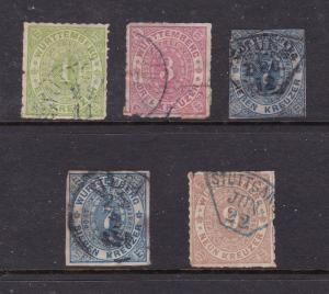 Wurttemberg 5 earlies (imperf or roulette)
