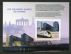 MADAGASCAR 2018 THE GREAT TRAIN STATIONS OF THE WORLD BERLIN  IMPF S/SHEET NH