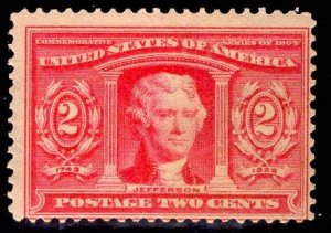 US Stamp #324 2c Carmine Jefferson MINT Hinged SCV $22.50