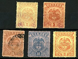 Colombia 1898 National Arms 1c to 50c sg171/4 (5v) Mint & FU Stamps