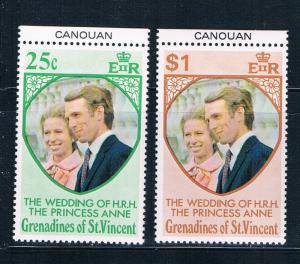 St Vincent - Grenadines 1-2 MNH set Prin Ann wed Canouan 1973 (S0908)