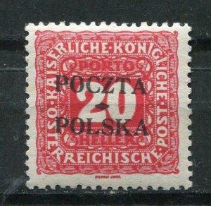 Poland/Austria 1919 Postage due Stamps Overprint POCZTA POLSKA Sc J4 MH p1351s