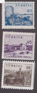 Turkey # 1449-1451, Fortress, Sugar Factory & Coal Mine, NH, 1/3 Cat.
