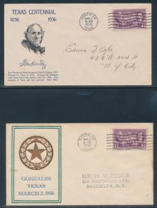 #776 ON (2) DIFF FDC BY HORNER & W. GRANDY CACHETS 3/2/1936 GONZALES, TX BU3419