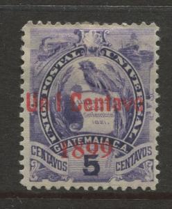 Guatemala - Scott 97 - Overprint Issue - 1899 -  MH - 1c on a 5c Stamp