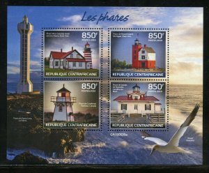 CENTRAL AFRICA 2019 LIGHTHOUSES SHEET  MINT NEVER HINGED