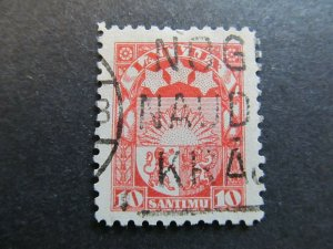 A4P25F18 Latvia Lettonia Lettland 1923-25 Wmk Wavy Lines 10s used