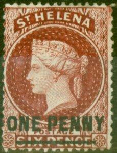 St Helena 1880 1d Lake SG27 Fine Mounted Mint