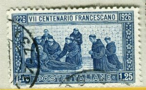 ITALY; 1926 early St. Francis pictorial issue fine used 1.25L. value