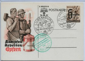 German Occupation of Luxembourg 1941 Post Card ,VF (RN-15)