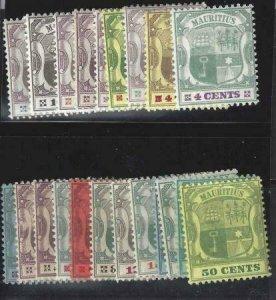 Mauritius 1895-1904 SC 91-111 MLH Set