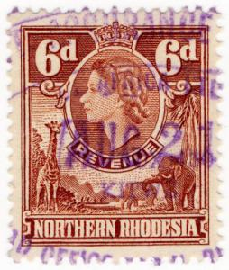 (I.B) Northern Rhodesia Revenue : Duty Stamp 6d