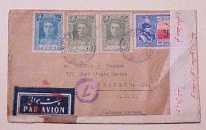 IRAN PERSIA CENSORED COVER B/S BAGDAB TO USA 1943
