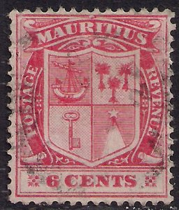 Mauritius 1910 KGV 6ct Pale Red used SG 186a ( E837 )