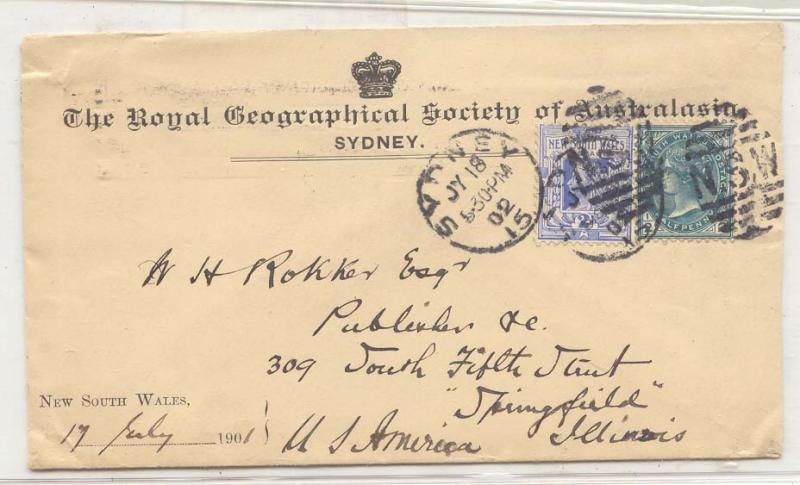 Australia New South WAles 1902 cover US to Royal Geographica