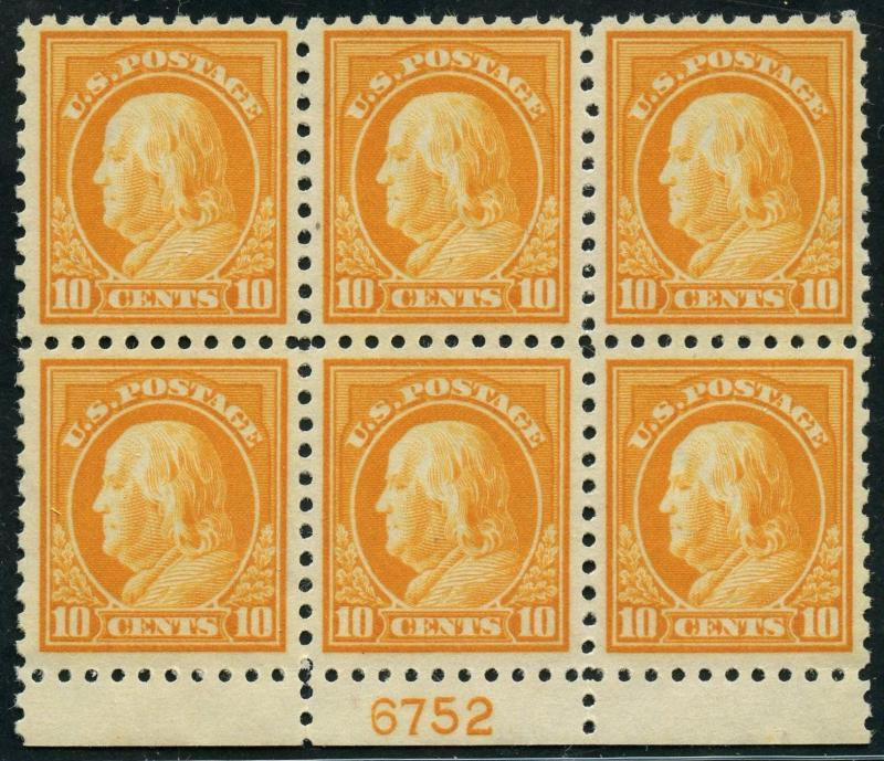 #433 PLATE NO. BLOCK OF 6 VF OG NH WITH PSE CERT CV $1,400 WLM4327