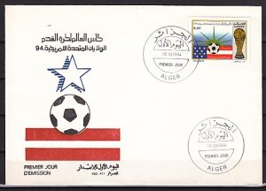Algeria, Scott cat. 996. USA World Cup Soccer issue. First day cover. ^