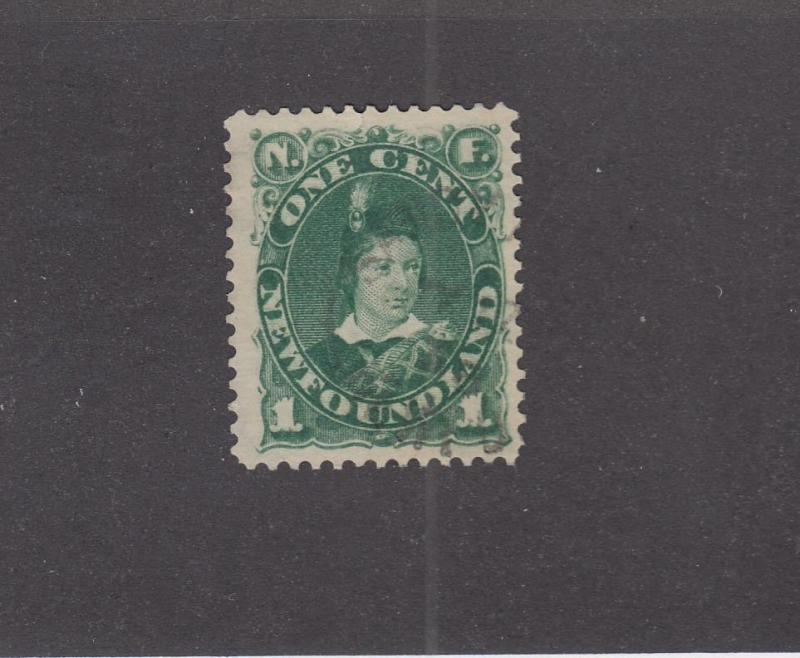 NEWFOUNDLAND # 43 VF-1ct EDWARD VERY LIGHTLY CANCELLED CAT VALUE $100
