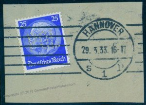 Germany Hindenburg Hannover POL Lochung Police Perfin Official Used 94100