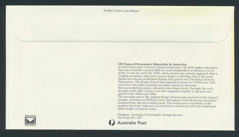 Australia PrePaid Envelope 1982 150 years of Secondary Education
