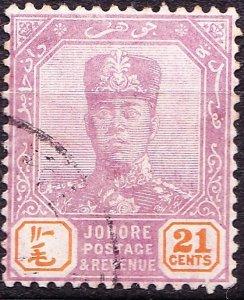 MALAYA JOHORE 1928 21 Cents Dull Purple & Orange SG115 Used