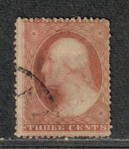 US Sc#25a Used/A, Plated Pos 22L5L Short Perfs, Cv. $850