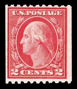 Scott 488 1919 2c Washington Coil Mint F-VF NH Tiny Tear Cat $6.50
