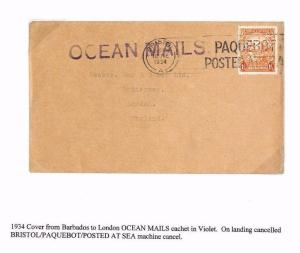 A1934.13 BARBADOS GB Bristol Maritime Paquebot/London Cover