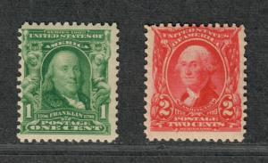 US Sc#300-301 M/NH/F, Partial Set, Cv. $65