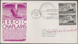 USA 1948 HEROIC CHAPLAINS - C Stephen Anderson FDC to New Zealand...........M482