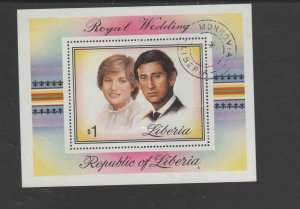 LIBERIA #961  1982  PRINCESS DIANA 21ST BIRTHDAY    MINT  VF NH  O.G  S/S