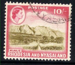 Rhodesia & Nyasaland 1959 QE2 10/-d Brown & Red used SG 30 ( J298 )