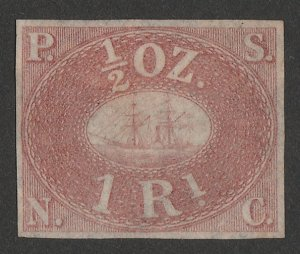 PERU : 1857 Pacific Steam Navigation Co 1R red-brown unissued. Only 800 printed.