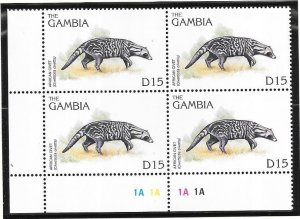 Gambia #1739  15d  African Wildlife  Margin Block of 4 (MNH) CV13.00