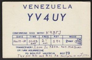 QSL CARD YV4UY,Ivan Aguirreche,80,Valencia,Venezuela(Q4508)