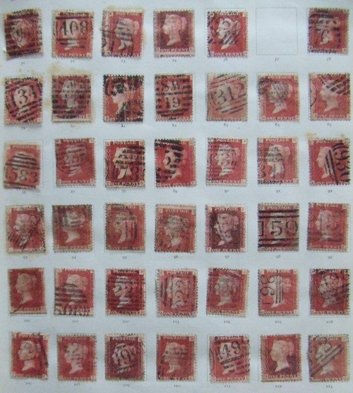 QV 1858 1d red plates 71-113