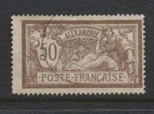 French Alexandrie - Scott 27 - Liberty & Peace.-1902- VFU - Single 50c Stamp