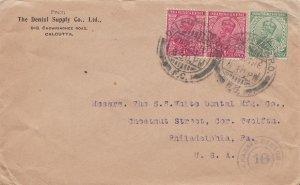 India 1/2a and 1a (2) KGV 1916 Calcutta G.P.O., F.C. to Philadelphia, Penn. C...