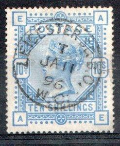 1884   S.G:183 - QUEEN VICTORIA - 10/- ULTRAMARINE - USED -  LEICESTER 1896 H/S