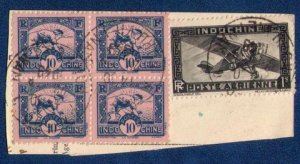 INDO-CHINA Sc 158a Block of 4 and Sc C14 Airplane (1941) Used on a Cut Corner