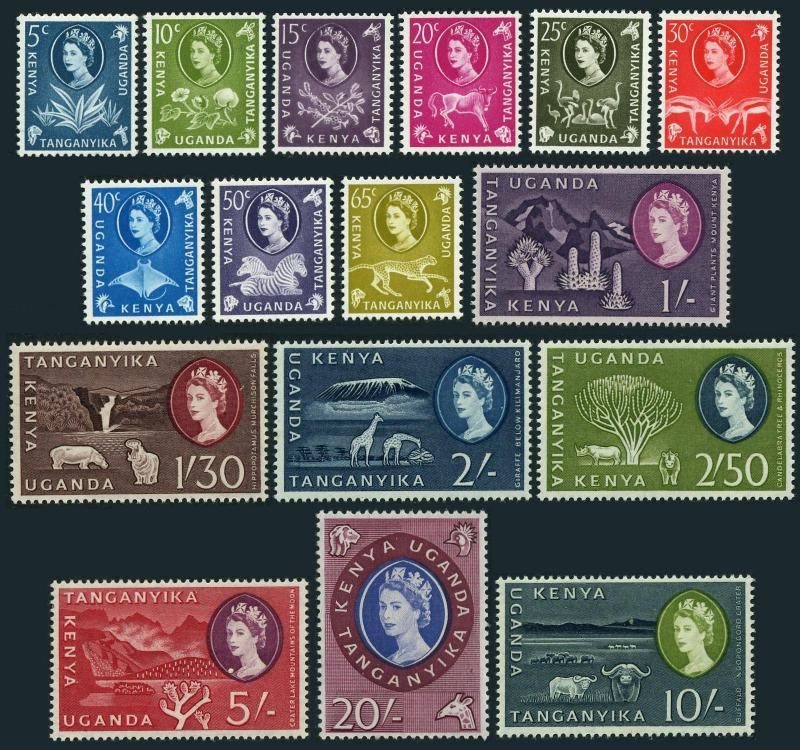 Kenya,Uganda,Tanganyika 120-135,MNH.Michel 108-123. Sisal,Cotton,Coffee,Animals.